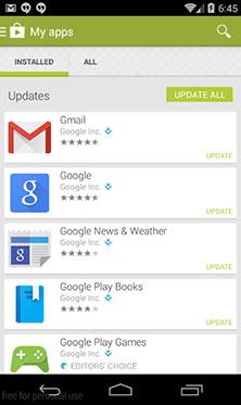 Tela da Google Play Store com os apps que têm atualizações disponíveis