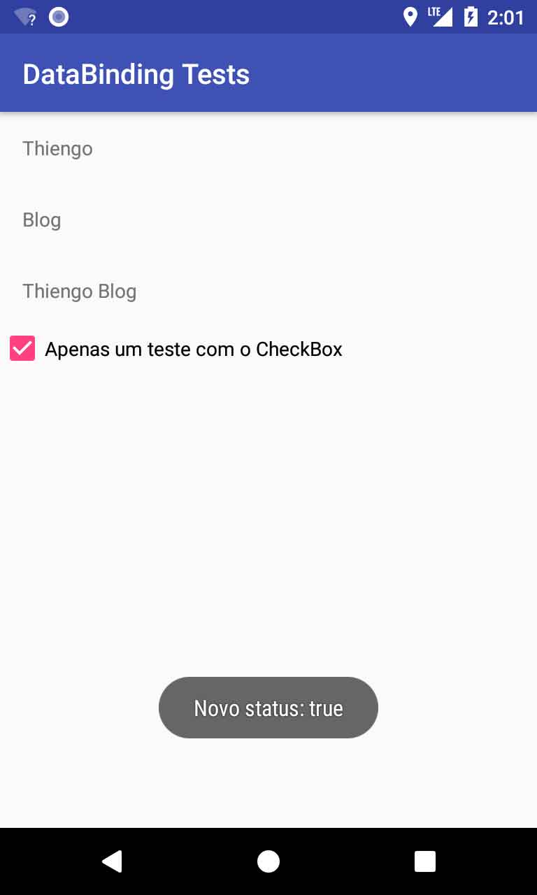 Listener de status de CheckBox via Data Binding