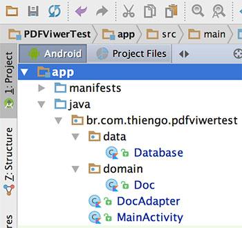 Estrutura do projeto no Android Studio IDE
