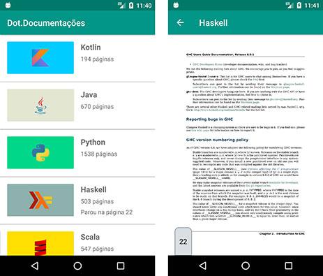 Última página acessada no PDF da linguagem Haskell no aplicativo Dot.Documentações