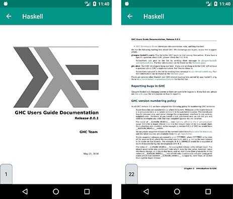 PDF da linguagem Haskell no aplicativo Dot.Documentações