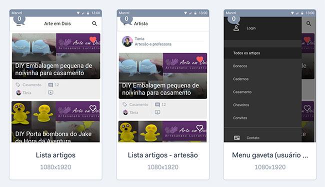 Protótipo estático app Android Arte em Dois