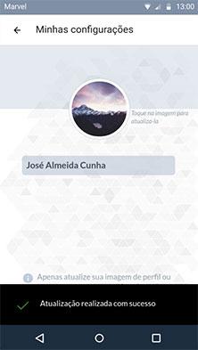 Configurações usuário - imagem de perfil atualizada