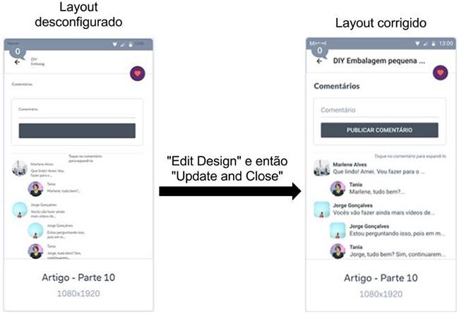 Layout desconfigurado vs layout corrigido - MarvelApp