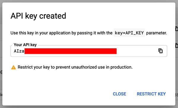 Nova chave de API Google criada no Console de desenvolvedores