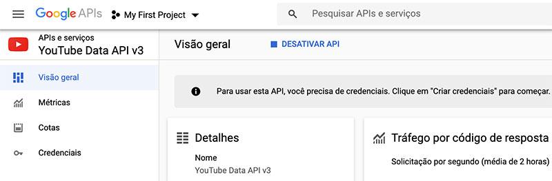 YouTube Data API v3 ativada em Console