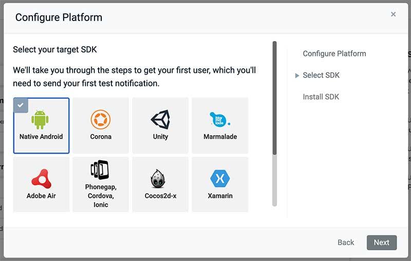 Selecionando, no OneSignal, Android Nativo como SDK alvo