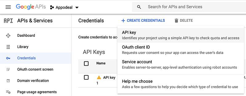 Criando uma nova chave de API no Google Dev Console