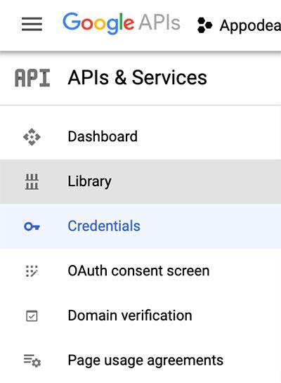 Acessando a área de bibliotecas Google no Console de desenvolvedores
