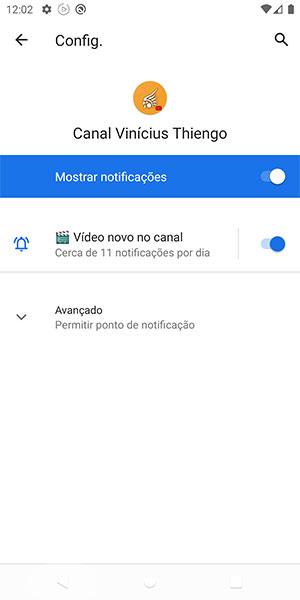 Área de notificações de app no sistema Android