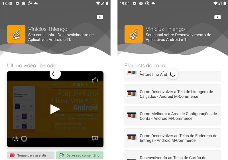 Swipe refresh sendo aplicado no aplicativo Android para YouTubers