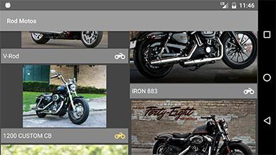 Aplicativo Android Rod Style sendo visualizado na horizontal (landscape)