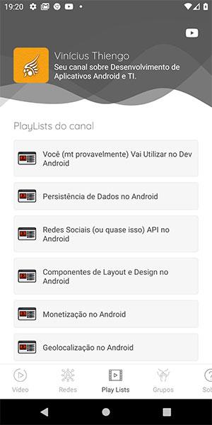 Tela de PlayLists do aplicativo Android