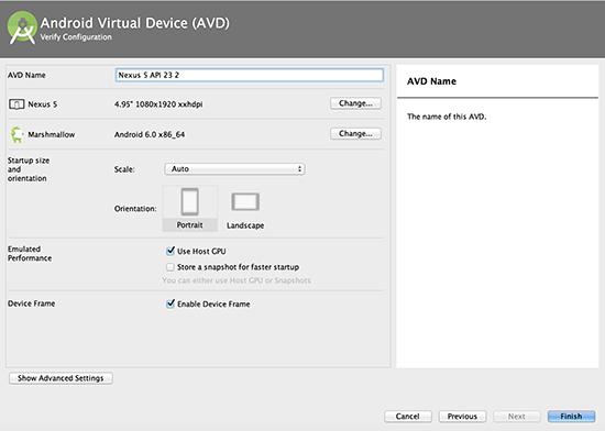Definindo as configurações finais do novo emulador