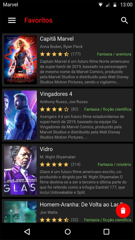 Listagem de filmes favoritos