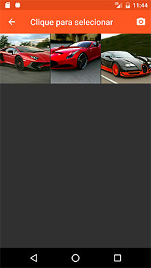 Tela da Image Picker API com as imagens do aparelho Android