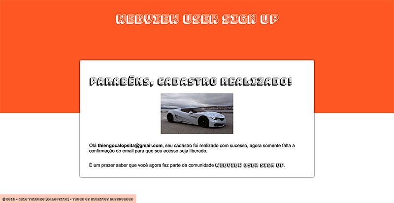 Página de Sucesso no Cadastro do app Web de exemplo