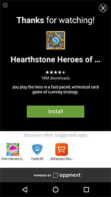 Final do anúncio Android Rewarded Video do Appnext