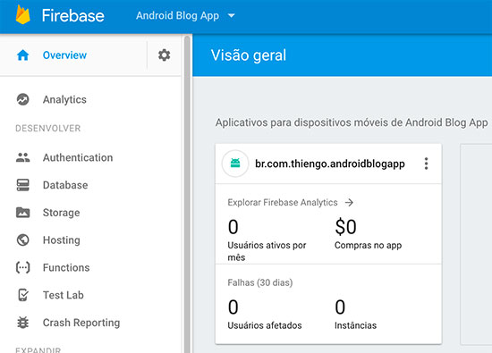 Dashboard Firebase com app Android já adicionado