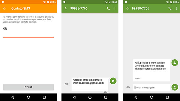 Executando um aplicativo de SMS a partir do acionamento de uma Intent Android