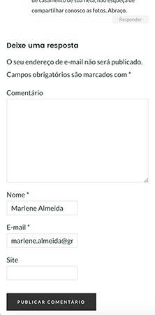 Versão Web mobile da área de comentários na página de artigo