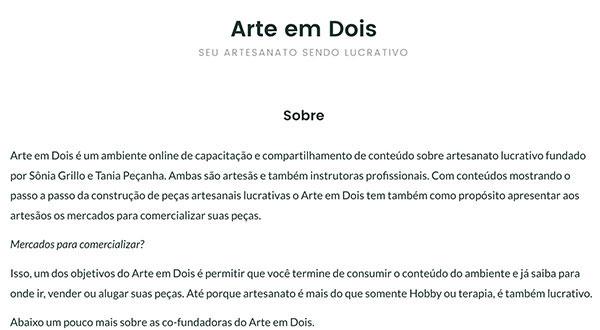 Página Sobre no site Arte em Dois