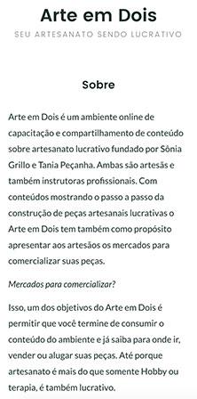 Versão Web mobile da página Sobre de Arte em Dois