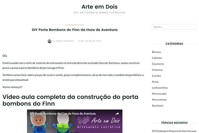 Modelo de página de artigo no site Arte em Dois