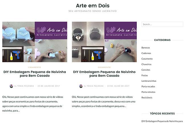 Home page site Arte em Dois