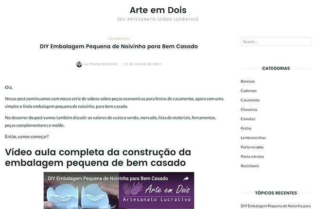 Tela do site WordPress Arte em Dois