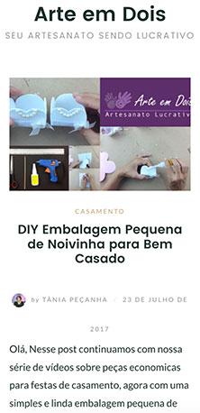 Home page da versão Web mobile de Arte em Dois