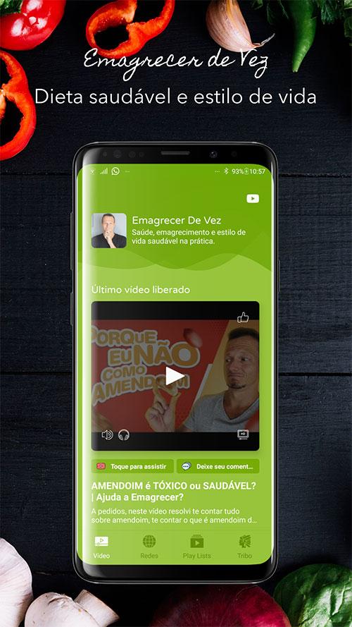 Banner do aplicativo Android do canal YouTube Emagrecer de Vez