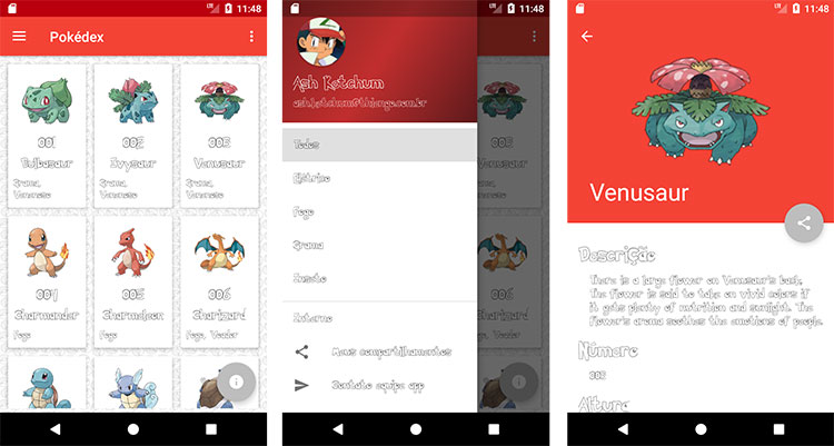 Tela principal, menu gaveto aberto e tela de detalhes
