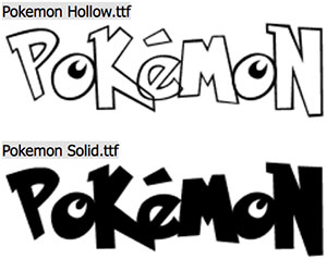 Família de fontes Pokémon: Hollow e Solid