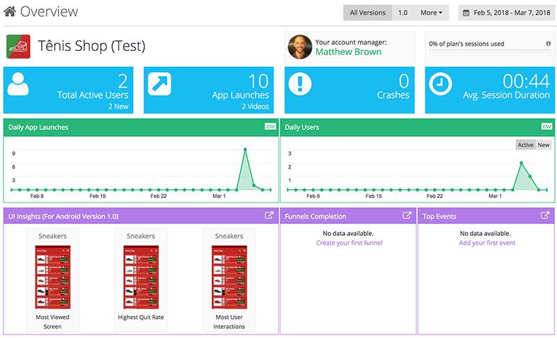 Visão geral do dashboard AppSee