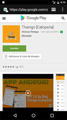 Tela do aplicativo na Google Play Store - Modo Web