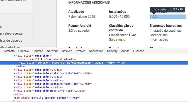 Estrutura HTML da página do projeto de exemplo
