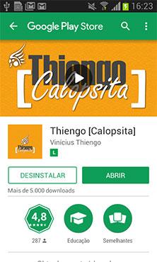 Tela do aplicativo na Google Play Store - Modo app Android