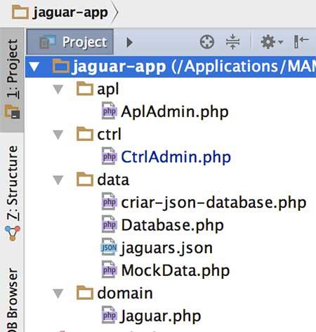Estrutura física do projeto Jaguar no IDE PHPStorm - lado Web