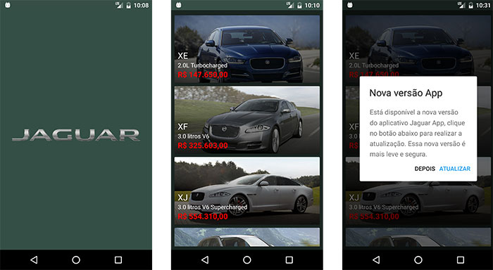 Aplicativo Android de carros da marca Jaguar
