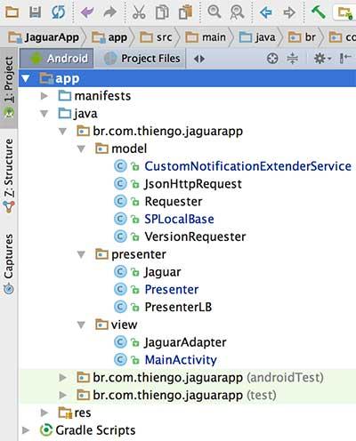 Estrutura física do projeto Jaguar no Android Studio IDE