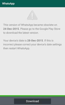 Tela interna do WhatsApp solicitando a atualização do aplicativo