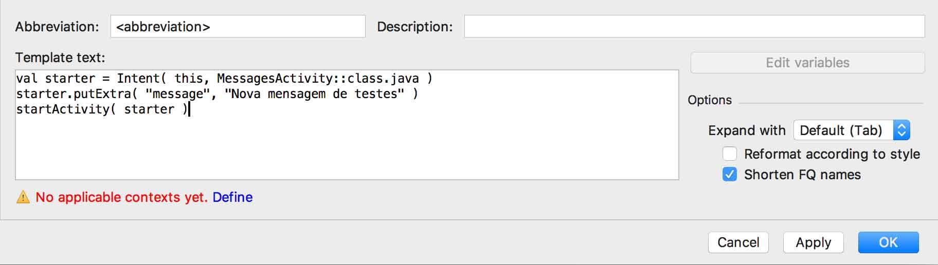 Configuração de um novo live template