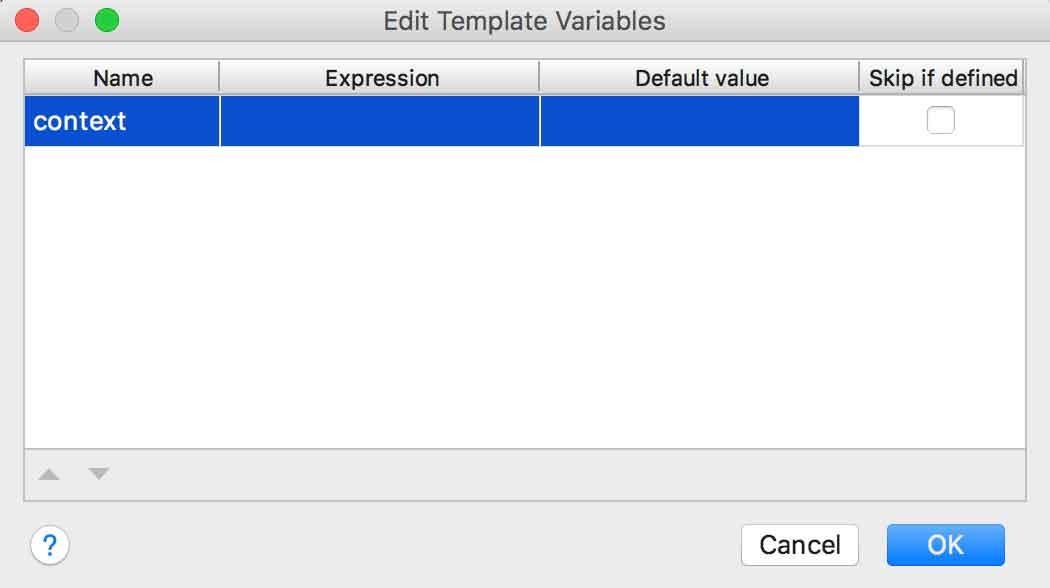 Edição de variável de live template