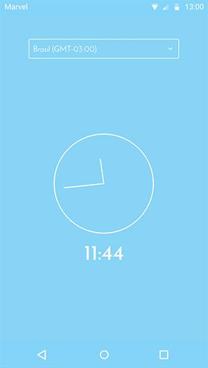 Tela com fuso horário definido