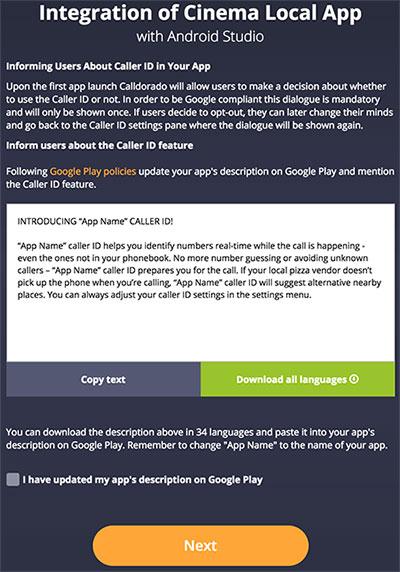 Terceiro passo da integração da Calldorado API