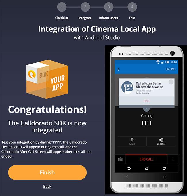 Página de finalização de integração da Calldorado API
