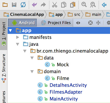 Estrutura final do projeto Android no Android Studio
