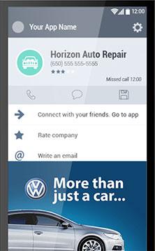 Aplicativo Android com a API Calldorado em ação com um anúncio