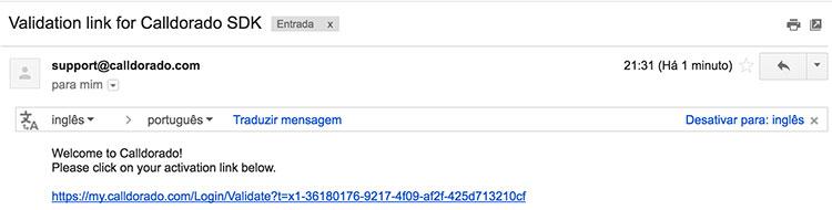 Email de confirmação de conta na Calldorado